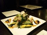 ふかひれの刺身の彩り野菜サラダ ゴマドレッシング添え